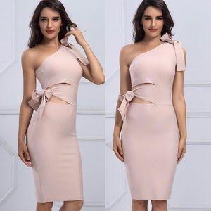Sophia Nude Bandage One Shoulder Dress - Bodycon